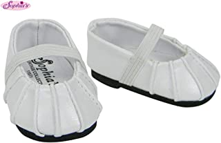 Baby Doll Shoes in White fit for Bitty Baby American Girl Dolls, Ballerina Doll Flats in White