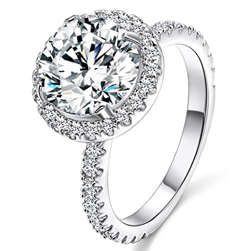JIANGYUE Engagement Wedding Ring for Women, 3 Ct 8 Heart 8 Arrow White AAA Crade Cubic Zirconia Rings, White Gold Big Main Stone Cocktail Halo Mothers Day Gifts Rings Size 9