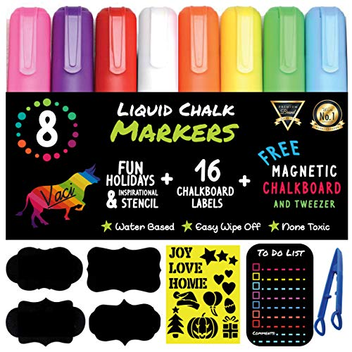 Chalk Markers by Vaci Pack of 8  Magnetic Chalkboard  Drawing Stencils  16 Labels Premium Liquid Chalkboard Neon Pens Bullet or Chisel Reversible Tips