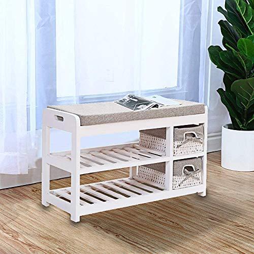 Empfangsschicht 2 als weißes Holzschuh Schuh Schuhmöbel, mit gepolstertem Sitz und 2 Weidenkorb shoe Schließfächer,White