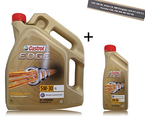 1 L + 5 L = 6 Liter Castrol Edge Fluid Titanium 5W-30 LL Motoröl