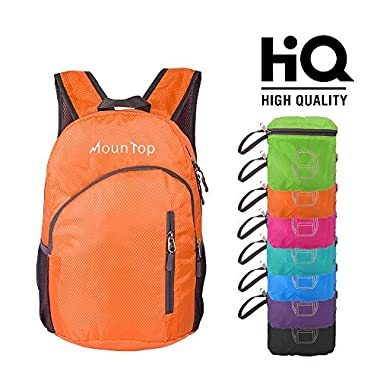 mountop Lightweight Foldable Packable Durable Travel Hiking Backpacks Daypacks 20L (Orange)