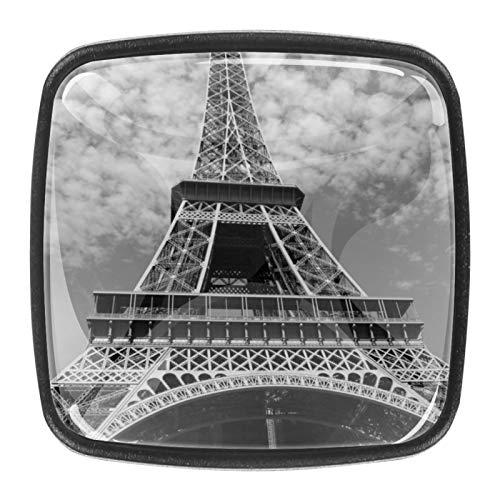 4 pomos de cristal para armarios de cocina, armarios de cocina, armarios de vestidores, armarios, armarios, Torre Eiffel París