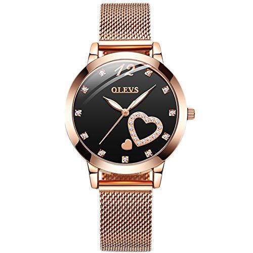 RORIOS Fashion Mujer Relojes Moda Cuarzo Pulsera Relojes con Crystals Elegante Niña Relojes con Mesh Correa en Acero Inoxidable Women Watches