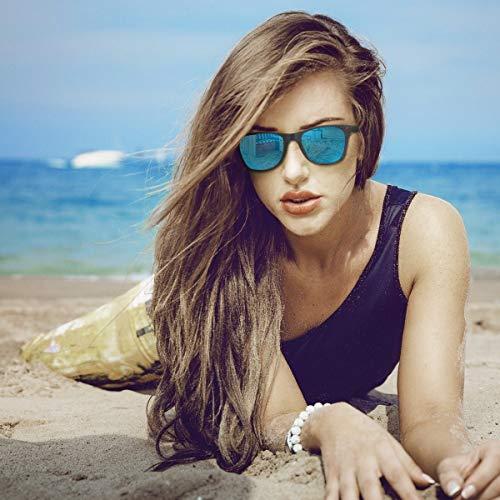 CHEREEKI Polarized Sunglasses, Fashion and Classic Sunglasses Men Women with UV400 Protection and Ultralight Frame (Black-Blue)