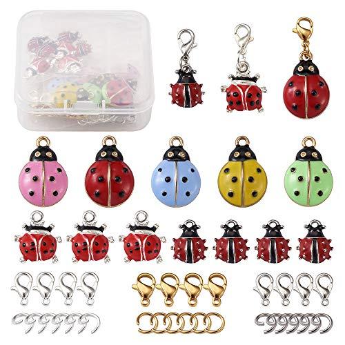 Cheriswelry 32 colgantes esmaltados de mariquita de metal con anillos de salto y cierres de pinza de...