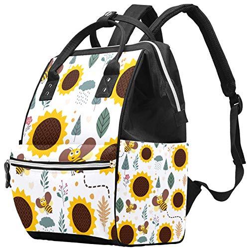 Tournesols Honey Bee Nappy Changing Bag Diaper Sac à dos avec poches isolées, sangles de poussette, grande capacité multifonctionnel élégant sac à couches pour maman papa en plein air