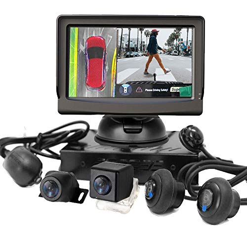 """HSRpro RFK-98 3D 360° Rückfahrkamera für PKW Auto, Kleine Bus, Kleine Transporter und Kleine Wohnwagen Wohnmobile inkl 5\"""" rb Monitor - 3D-Rundumsicht- Rückfahrsysteme - Überwachungstechnologie"""