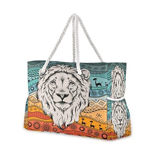 Hunihuni Strandtasche, ethnischer Löwe, Schultertasche, Reisetasche mit Baumwollseil-Griffen, Reißverschluss oben, zwei Außentaschen