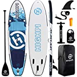 Highpi Inflatable Stand Up Paddle Board 10'6''x32''x6''W Premium SUP Accessories & Backpack, Wide Stance, Surf Control, Non-Slip Deck, Leash, Paddle and Pump, Standing Boat for Youth & Adult…