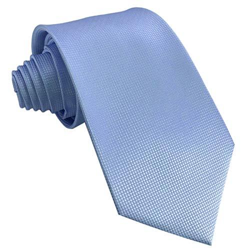 GASSANI Krawatte 10cm Breit Hell-Blau Karo Kariert | Blaue Herrenkrawatte zum Sakko Anzug Seide-Optik | Schlips Binder einfarbig
