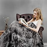 joybest Faux Fur Fuzzy Throw Blanket Soft Warm Cozy Tie-dye Sherpa Throw Blanket Throw Size Throw Size 50x60 inch Suitable for Fall Winter and Spring