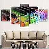 Carteles Sala de estar Arte de pared moderno Impreso en HD 5 paneles Teclas de piano coloridas y cuadros de pintura musical Decoración del hogar Pinturas de pared