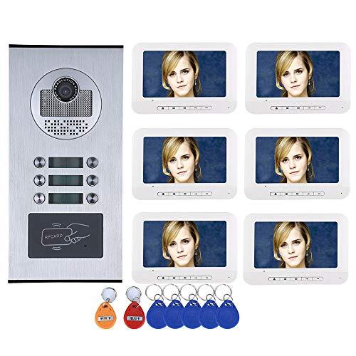 Gegensprechanlagen Interfono para Vivienda/Familia, videoportero, RFID IR-Cut HD, Timbre de Puerta, Monitor, cámara Impermeable con 6 Botones