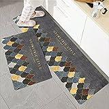 Felpudos de Cocina, tapetes con impresión de vajilla 3D, alfombras Lavables Antideslizantes en pasillos, Salones y baños A16 60x90cm + 60x180cm