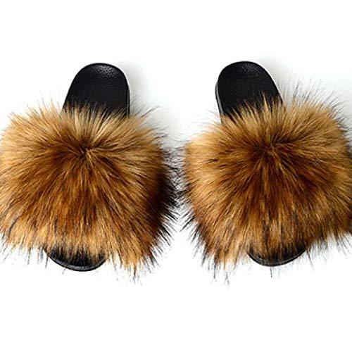 Zapatillas de Piel sintética para Mujer Sandalias de Pelo de Zorro Lindas para Mujer Zapatos Planos de Felpa cálidos de Invierno para Mujer