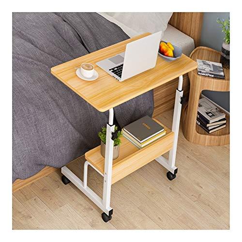 XJL Multifuncional Plegable Escritorio Mesa Auxiliar para Cama O Silla con Ruedas, con Altura Ajustable, para Cama Y Sofá (Color : Wood Color B, Size : 60X40cm)