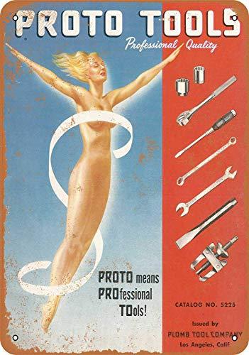 2013 Placa de metal vintage de 20,32 x 30,48 cm, decoración – 1952 Proto herramientas de calidad profesional – Decoración de pared para el hogar, bares, clubes, cafés