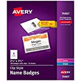 Avery Clip Name Tags, Print or Write, 2.25' x...