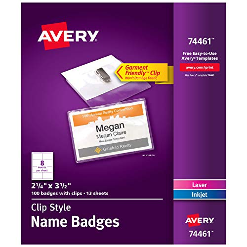 """Avery Clip Name Tags, Print or Write, 2.25"""" x 3.5"""", 100 Inserts & Badge Holders with Clips (74461)"""