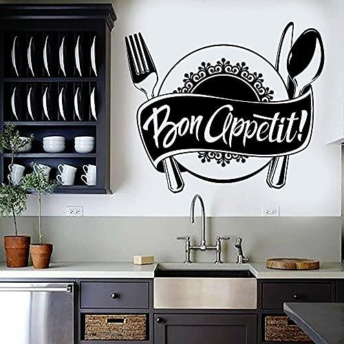 QILAIYD Calcomanía de pared de cocina Bon Appetit Cocina Restaurante Chef Pegatinas de pared Decoración Interior Vinilo Extraíble 49 x 42 cm