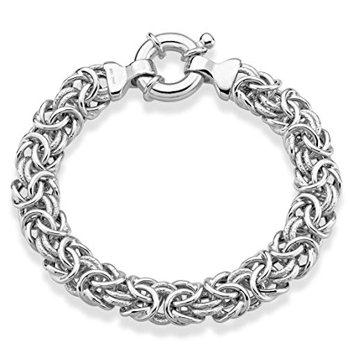 MiaBella 925 Sterling Silver 11mm Textured and Polished Wide Byzantine Link Chain Bracelet for Women, 7, 8 Inch Handmade in Italy (7)