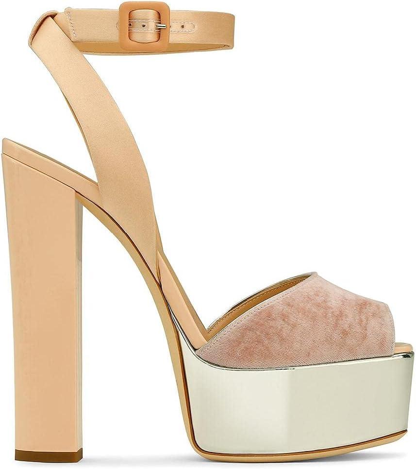 LUXDAMAI Super sale period limited Women's Ankle Strap High Block Import Sandals Heels Platform P