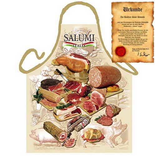 sabuy Grillschürze mit Urkunde - Italienische Salami - Lustige Motiv Schürze als Geschenk für Grill Fans mit Humor - NEU mit gratis Zertifikat