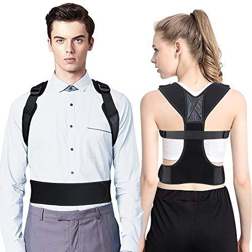 OMERIL Haltungskorrektur Rückenstütze Haltungskorrektur Geradehalter für Rücken Schulter Atmungsaktiv & Verstellbare Haltungstrainer Lindern Schmerzen für Damen Herren. [mit 2 Achselpolster]