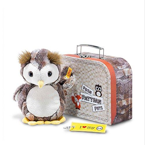 Steiff 45639 Grey/Brown/Cream Posh Pattern Pets Eugen Owl Plush Toy in Suitcase