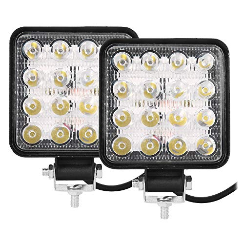 2 Pezzi Fari 48W Quadrato Faretto LED da Lavoro 16LED Profondità Auto Barcaper Autoveicoli Fuoristrada Barche Trattori Camion Veicoli Industriali