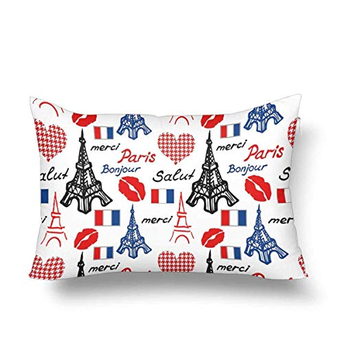 Guaone Vintage Ansichtkaart Eiffeltoren Parijs Frankrijk kussensloop kussensloop, rechthoek kussenslopen Protector voor Thuisbank Slaapbank Decoratief