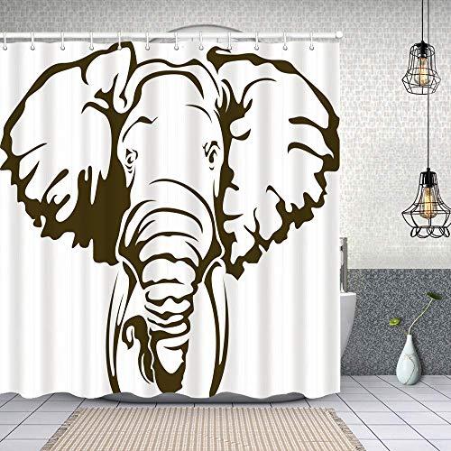 Tenda Doccia,Grande elefante africano tatuaggio Dumbo orecchie zanne,Tenda da Doccia in Tessuto di Poliestere impermeabile,Include 12 ganci Morbido e lavabile 150X180cm