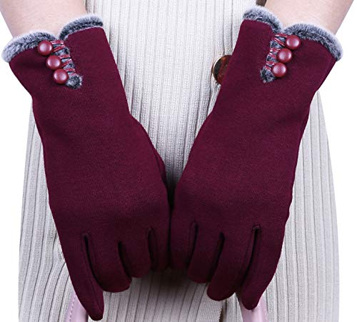 T-GOTING Womens Warm Lined Touch Screen Winter Gloves (Burgundy, One Size)