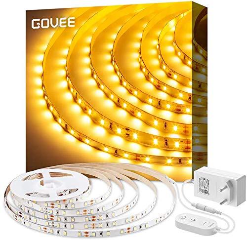 Govee 5 Meter 3000K Warmweiss LED Strip 300 LEDs Streifen Dimmbar, 2835 SMD LED Band Leiste Innenbeleuchtung für Spiegel Deko Party Küche Weihnachten, warmweiß
