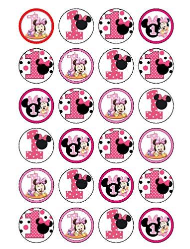 24 decoraciones comestibles para magdalenas con diseño de Minnie Mouse para primer cumpleaños