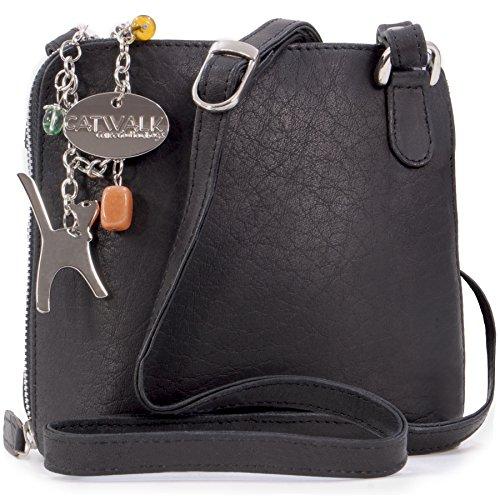 Catwalk Collection Handbags - Vera Pelle - Borse a Tracolla/Piccola Borsa a Mano/Messenger/Borsetta Donna - Con Ciondolo a Forma di Gatto - Lena - NERO