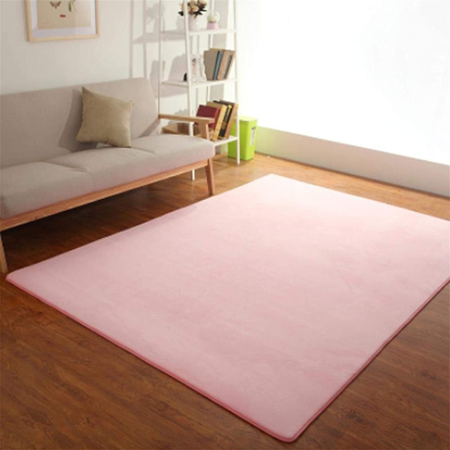 Royare Home Decorations mat Short Coral Velvet Carpet Full Home Tatami Living Room Coffee Table Bedside Floor mats can be Hand-Washed, 1.6x0.8 Meters, Pink