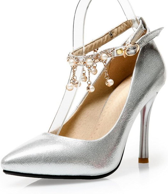 1TO9 Ladies Metal Chain Studded Rhinestones Metal Buckles Silver Polyurethane Pumps-shoes - 7 B(M) US