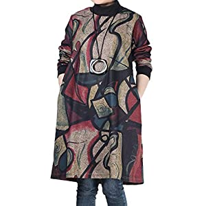 Women's Printed Tunic Dress Abstract Long Sleeve Pullover with Pockets