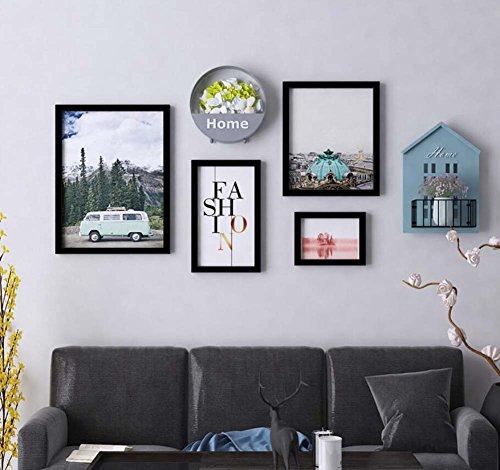4 Fotolijst Wanddecoratie Mural Combinatie, TV Achtergrond Muur Ophangen Schilderij Combinatie, Massief Hout Frame,Rek + IJzeren Bloemenmand (zonder Sier)