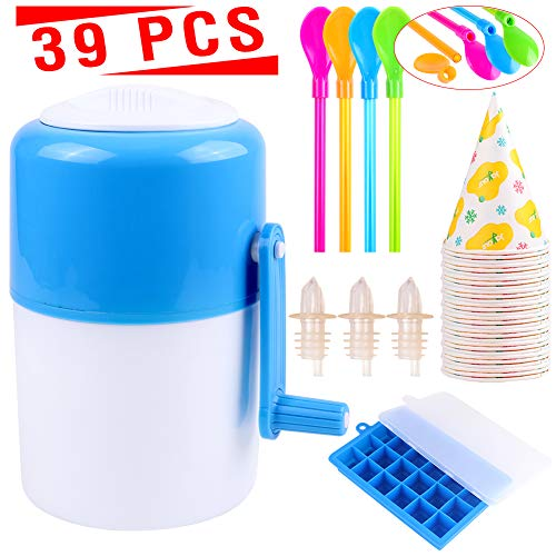Ice Shaver Ice Machine Snow Cone Machine Portable Manual Hand Crank Ice Crusher and Shaved Ice...