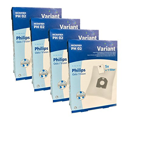 20 Staubsaugerbeutel Variant PH02 kompatibel mit Swirl PH84 geeignet für Philips T 519 topmatic deluxe