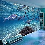 Fondo de Pantalla 3D Dibujos Animados Creativo Submarino Mundo Vida Marina Mural Niños Dormitorio Acuario Sala de Estar Telón de Fondo Papel de Pared Hogar-480cm * 280cm (W + H)
