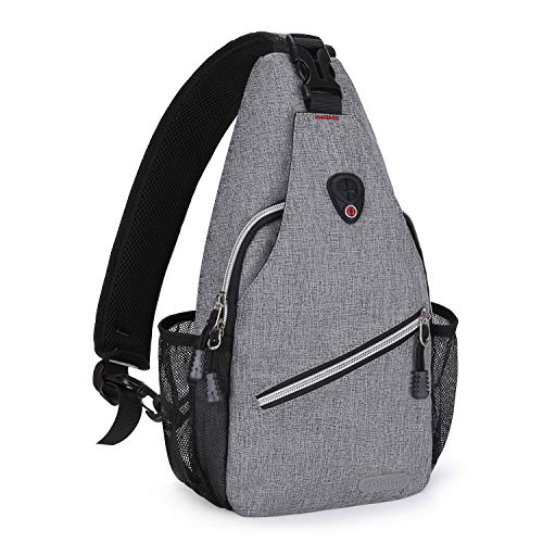MOSISO Mini Sling Backpack,Small Hiking Daypack Travel Outdoor Casual Sports Bag, Gray