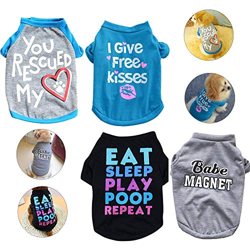 Yikeyo Male Dog Shirts - Small Dog Clothes for Boys - xs Puppy Clothes - Dog Shirt Pack of 4 - Dog Tshirts Outfits for Small Dogs - Chihuahua Clothes (4PC/Love,Free Kisses,Babe,EAT Sleep, X-Small)