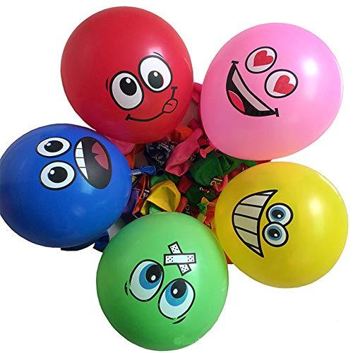 Limeow Smiley Ballon 100 Stücke Emoji Smiley Party Luftballons Verschiedene Lustige Emoji Design Kinder Latex Luftballons Geburtstagsfeierversorgungen Neuheit Hochzeit (Farbe)