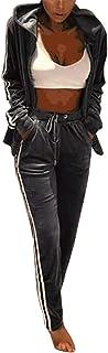 FSSE Women's Pleuche Hooded Jacket Jogger Pants 2 Pcs Outfits Tracksuits Sweatsuits