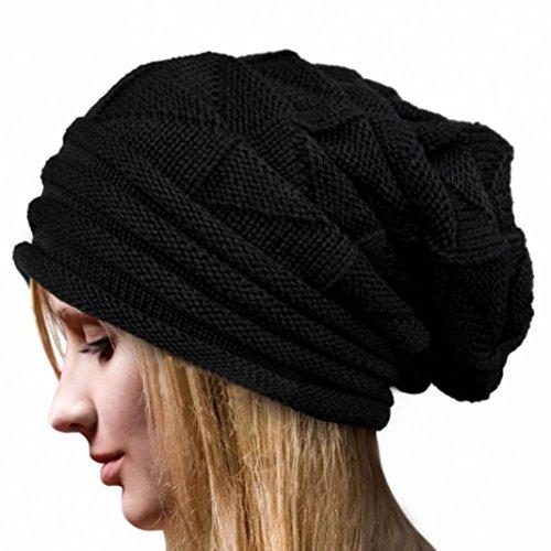 Ularmo Frauen-Winter Crochet Hat Wolle Strickmütze Warme Kappen (schwarz)