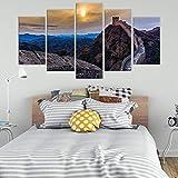 Póster de pintura de arte clásico 5 Set de impresión Modular moderno Sunset Surf imagen colgante Oficina pared lienzo decoración del hogar 150cm x 80cm sin marco